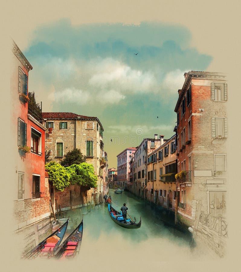 Gamla byggnader längs kanalerna, gondoljär i Venedig, Italien Vattenfärgen skissar, illustrationen arkivfoton