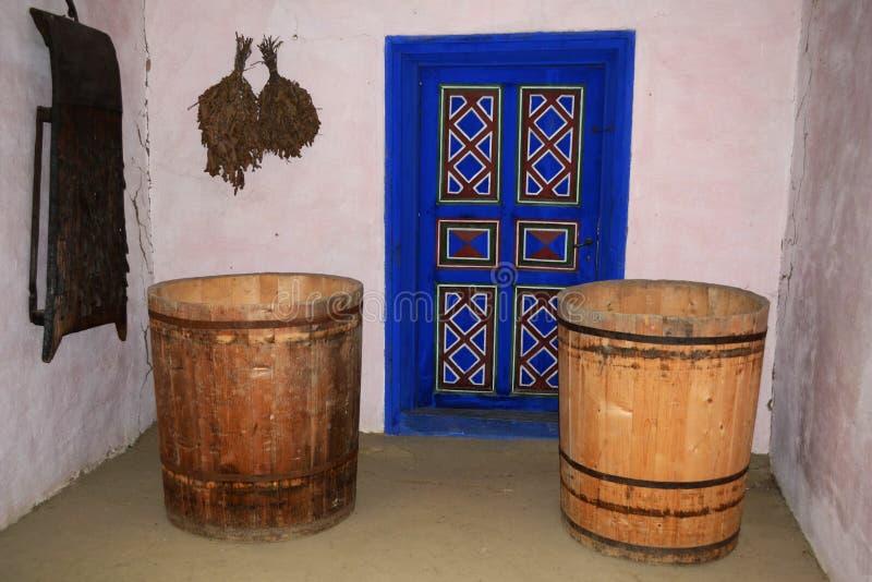 Gamla detaljer på Dimitrie Gusti Museum arkivfoto