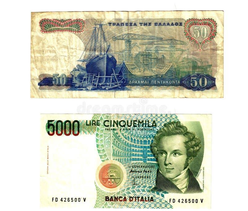 Gamla europeiska sedlar royaltyfri fotografi