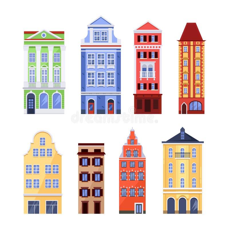 Gamla färgrika byggnader, vektorlägenhet isolerade illustrationen Europeisk traditionell husfasad Stadsarkitekturbeståndsdelar stock illustrationer