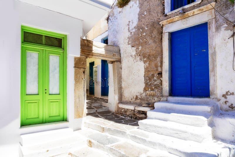 Gamla gator av den Naxos ön, Grekland arkivbilder