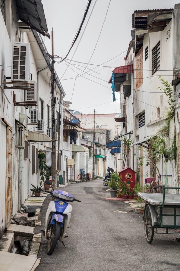 Gamla gator och arkitektur av Georgetown, Penang, Malaysia arkivbilder