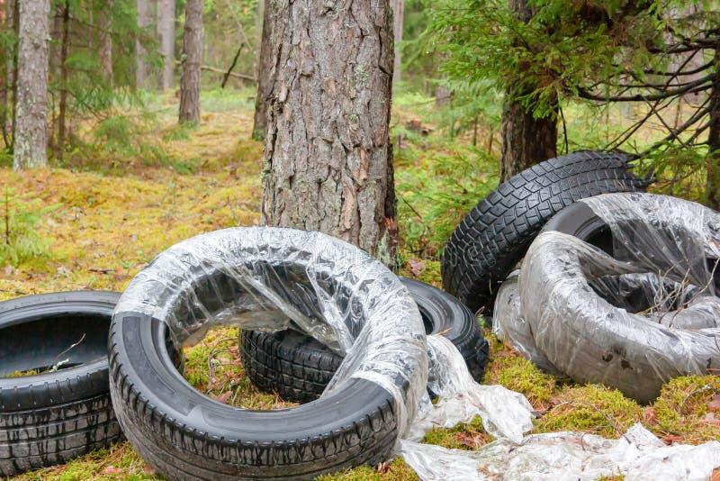 Gamla gummihjul f?r anv?nd bil l?mnade, dumpat i skogen, det milj?- begreppet arkivfoton