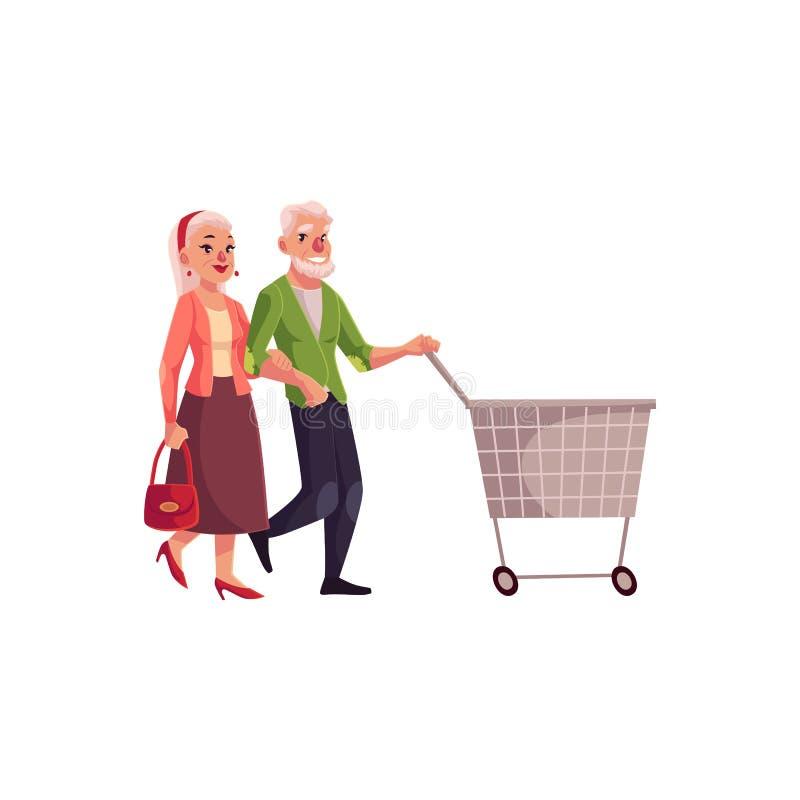 Gamla, höga äldre par som tillsammans shoppar vektor illustrationer