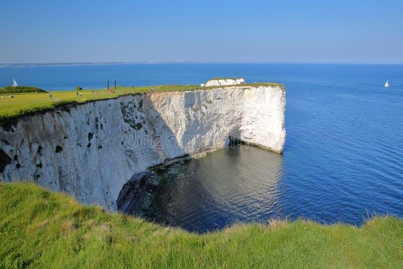 Gamla Harry Rocks, vita klippor som lokaliseras på Handfast punkt nära Swanage arkivbilder