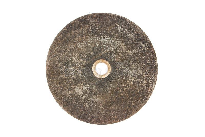 Gamla hjul för handcirkelsågen som isoleras på vit bakgrund Mala isolerat stål Isolerat mala hjul arkivbilder