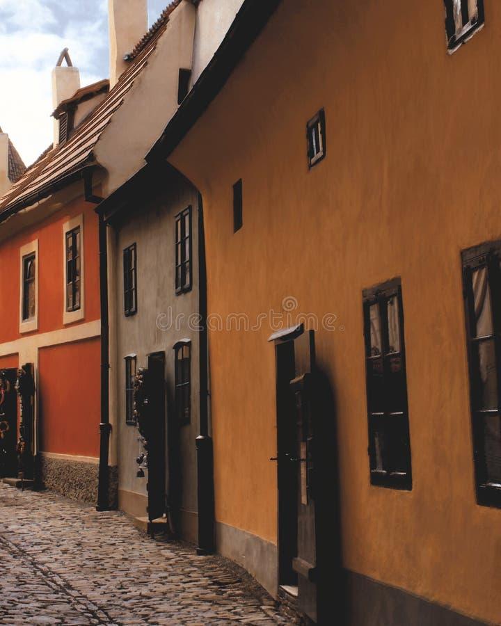 Gamla hus i Prague arkivfoto