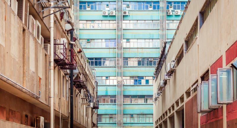 Gamla industriella buidings i Hong Kong, Asien arkivfoto
