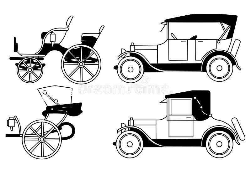 gamla isolerade bilar stock illustrationer