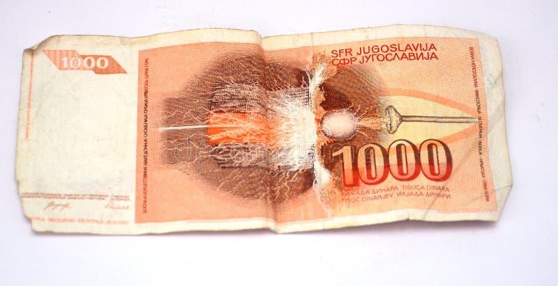 Gamla Jugoslavien dinar, pappers- pengar royaltyfri bild
