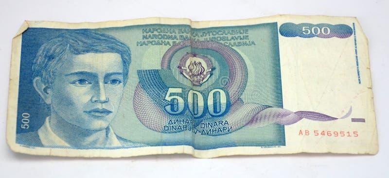Gamla Jugoslavien dinar, pappers- pengar royaltyfria bilder