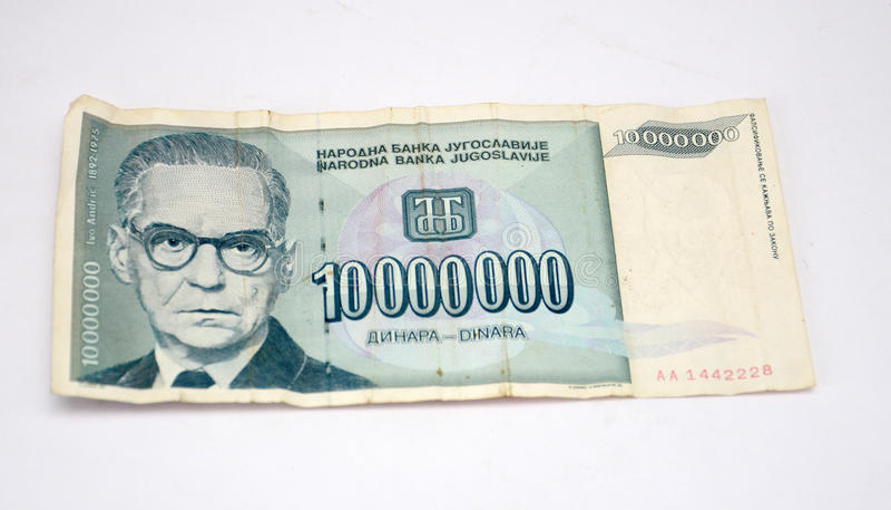 Gamla Jugoslavien dinar, pappers- pengar fotografering för bildbyråer
