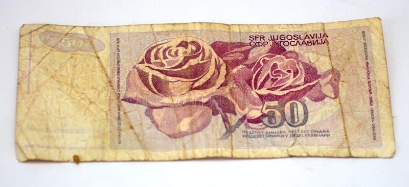 Gamla jugoslaviska dinar, pappers- pengar arkivbild