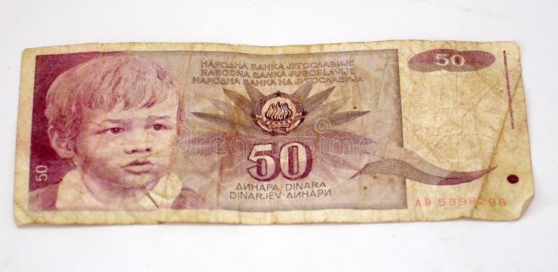 Gamla jugoslaviska dinar, pappers- pengar royaltyfri foto