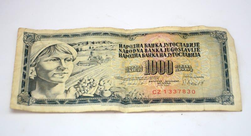 Gamla jugoslaviska dinar, pappers- pengar arkivfoto
