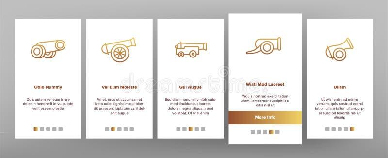 Gamla kanoner, skärm för sida för artillerivektorOnboarding mobil App royaltyfri illustrationer