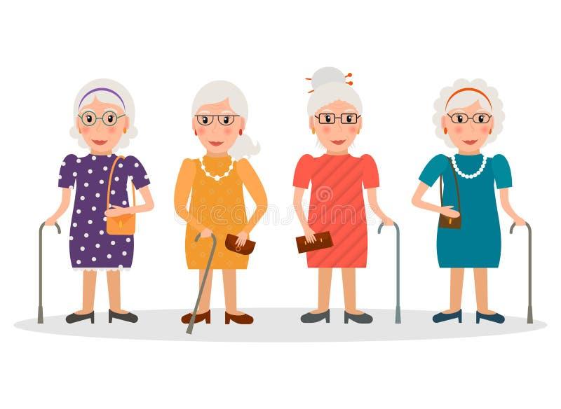 Gamla kvinnor som bär exponeringsglas och med rottingar, ställde in royaltyfri illustrationer