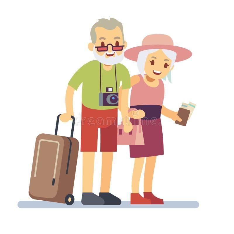 Gamla människor handelsresande på ferie Le morföräldrar på semester Resande vektorbegrepp för lycklig äldre veteran stock illustrationer