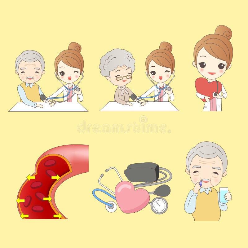 Gamla människor mäter blodtrycket royaltyfri illustrationer