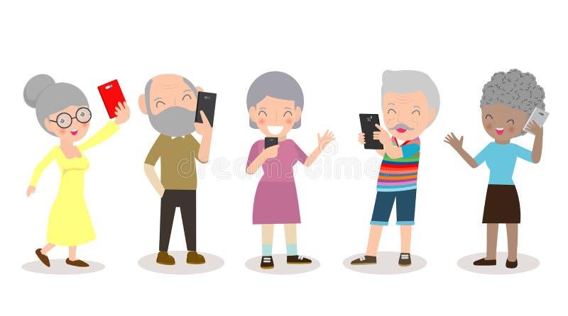 Gamla människor med smartphonen som är äldre med mobilen som är hög med grejer, folk med deras smartphone, person på socialt nätv stock illustrationer