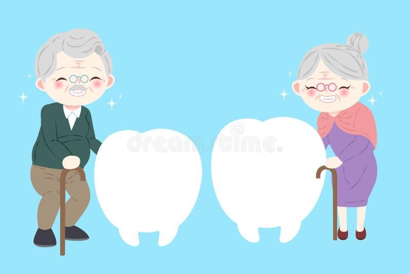 Gamla människor med tandaffischtavlan vektor illustrationer