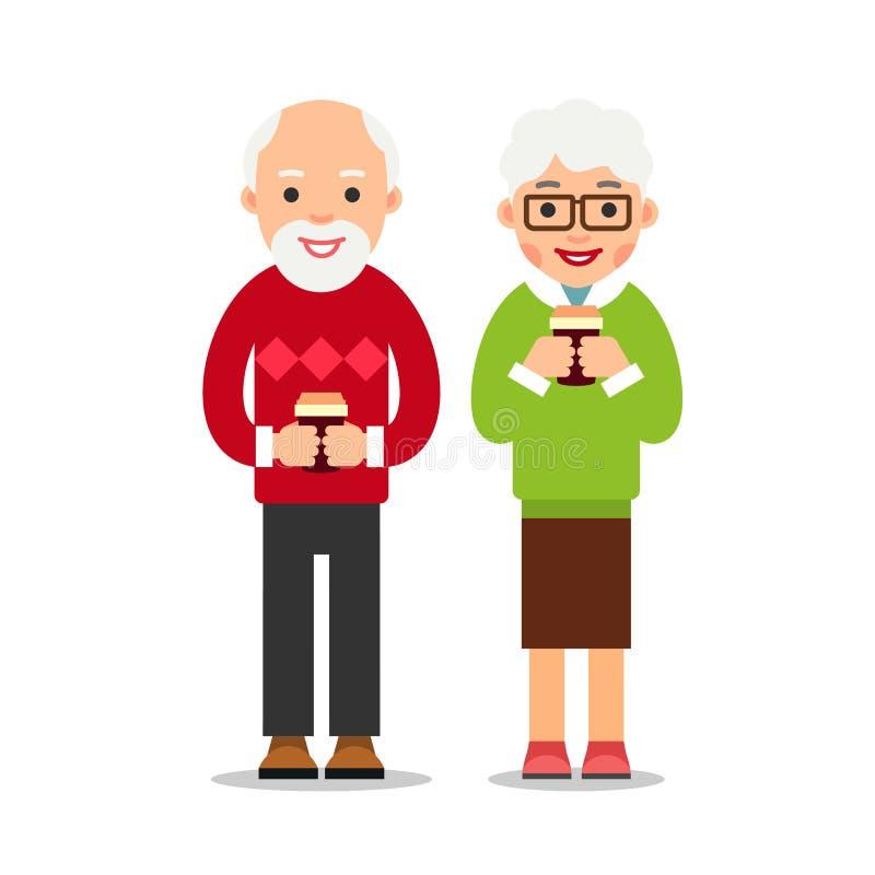 Gamla människor som dricker kaffe Äldre person-, man- och kvinnaställning royaltyfri illustrationer