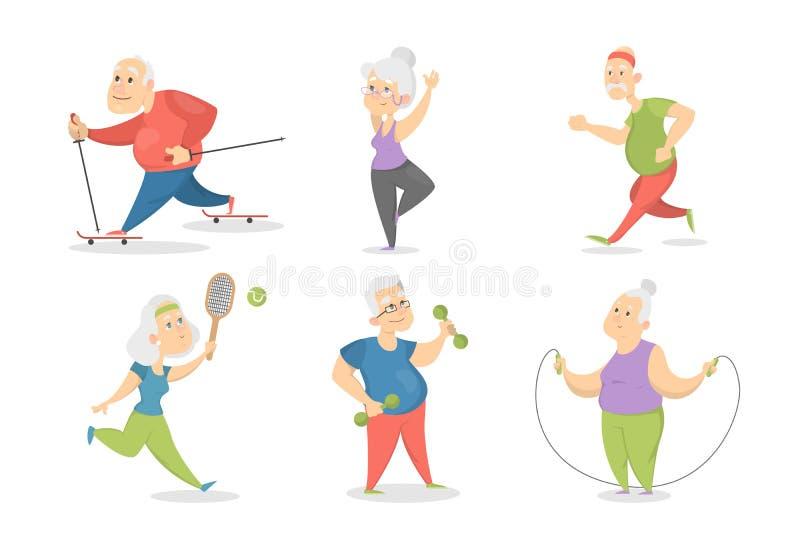 Gamla människor som gör sportuppsättningen vektor illustrationer