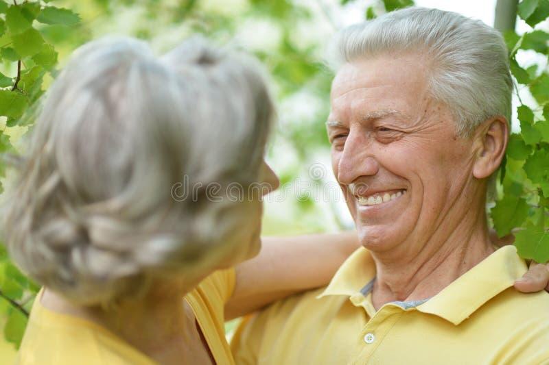 Gamla människor som utomhus omfamnar royaltyfri fotografi