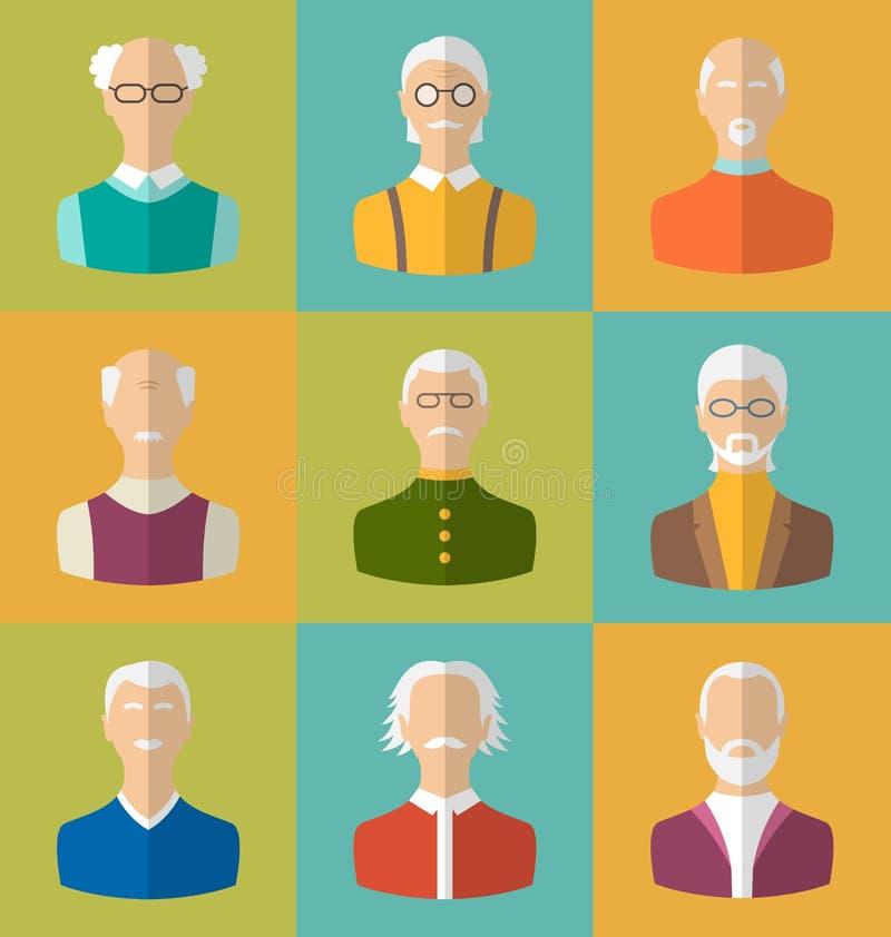 Gamla människor symboler av framsidor av gamala män Farfartecken stock illustrationer