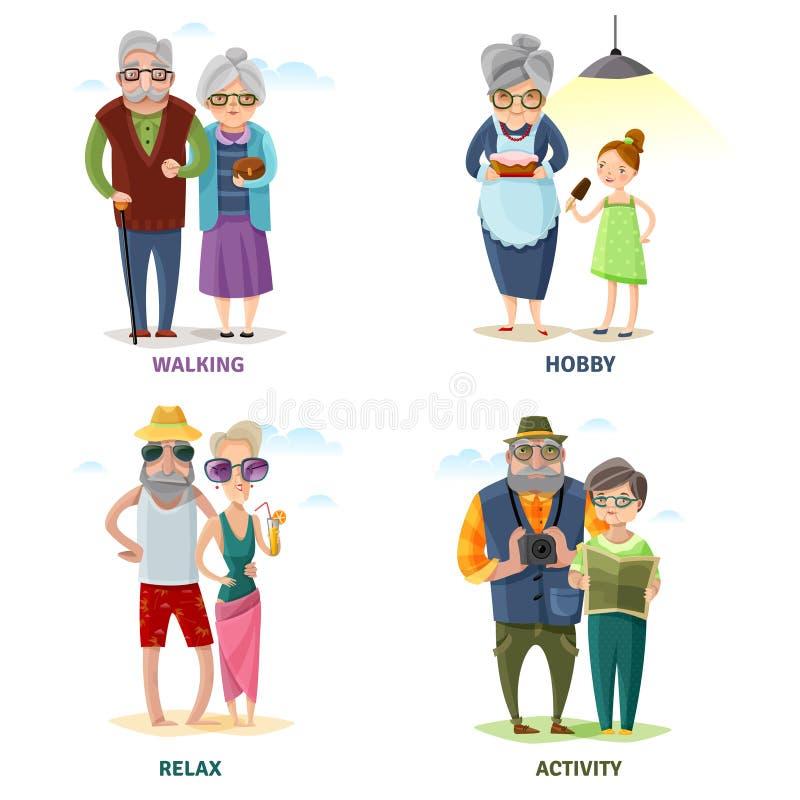 Gamla människor tecknad filmsamling vektor illustrationer