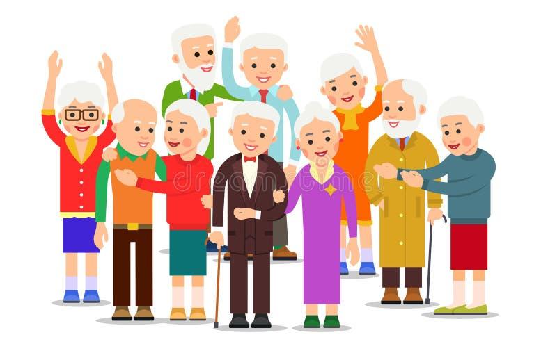 Gamla m?nniskor grupp Tränga ihop äldre män och kvinnor Gladlynt h?gt folk utomhus Lyckliga par reser tillsammans Le den åldriga  stock illustrationer