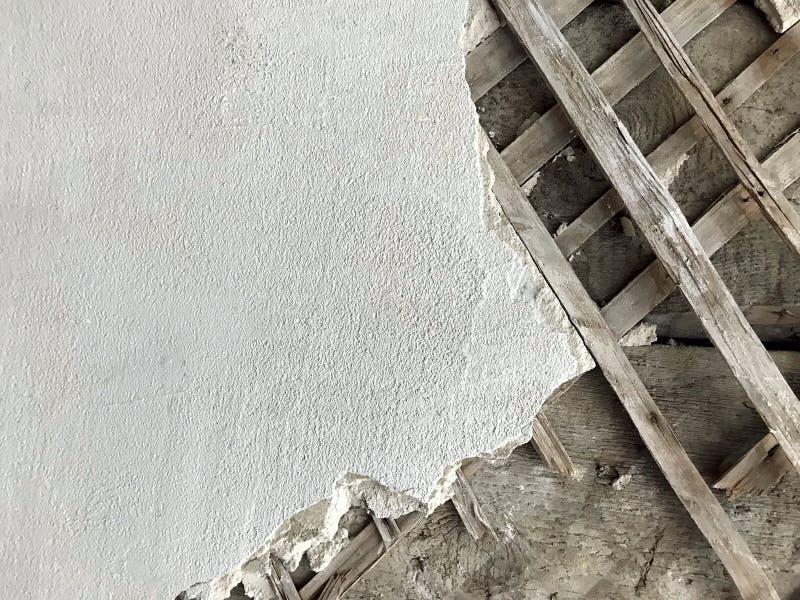 Gamla mansionsmuren - Stucco Shingles inomhus arkivbild
