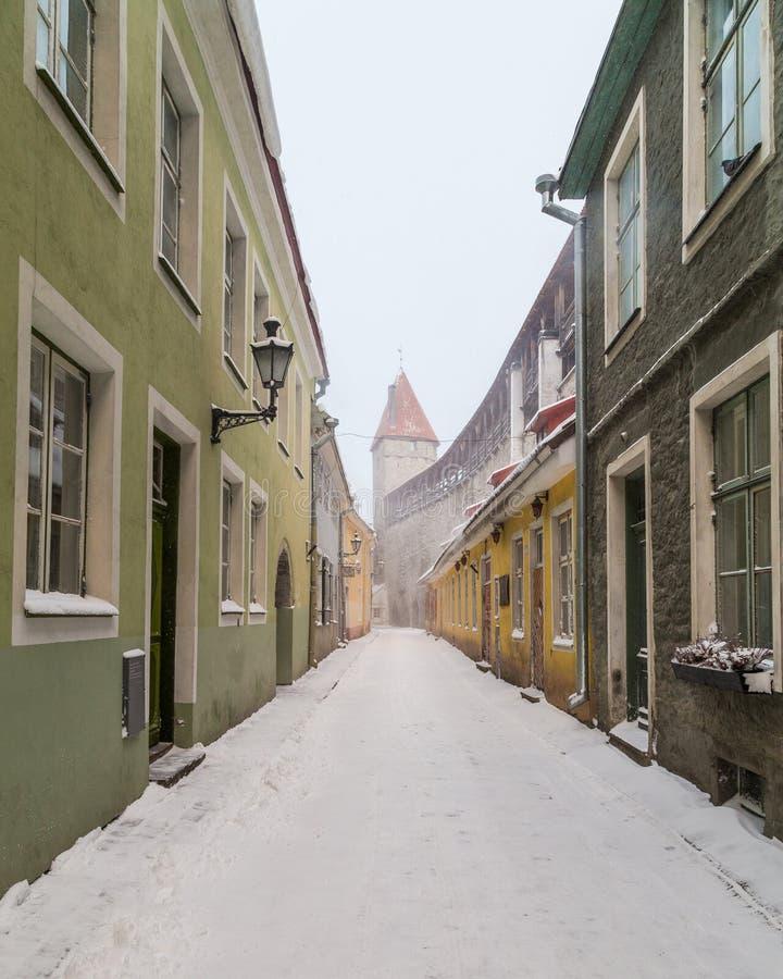Gamla medeltida gator av Tallinn arkivfoto