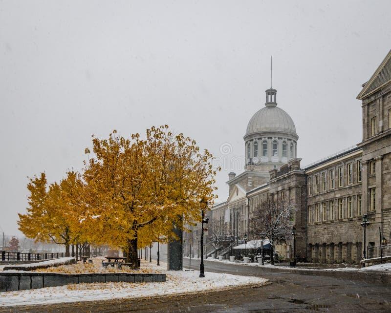 Gamla Montreal med snö och Bonsecours marknadsför - Montreal, Quebec, Kanada royaltyfri foto