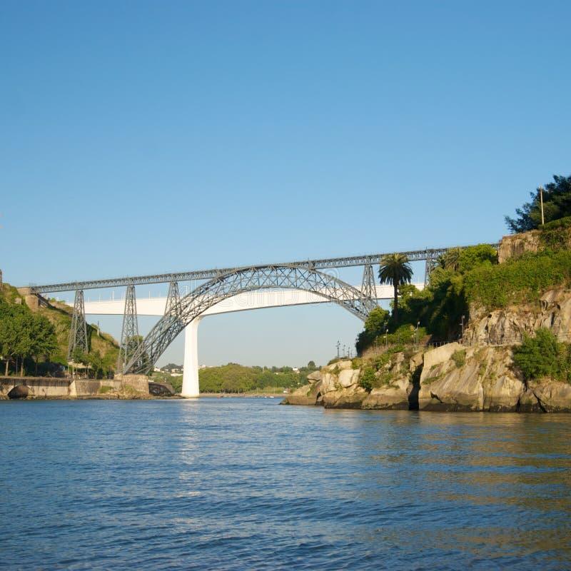 Gamla och moderna järnvägsbroar i Porto, Portugal royaltyfria foton