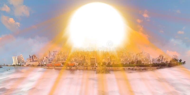 Gamla och nya jeddah över havet av moln på solnedgången med solstrålen royaltyfri foto