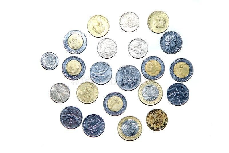 Gamla ogiltiga mynt från Italien arkivbild