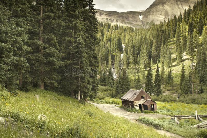 Gamla Ouray Colorado som bryter kabinen royaltyfria foton