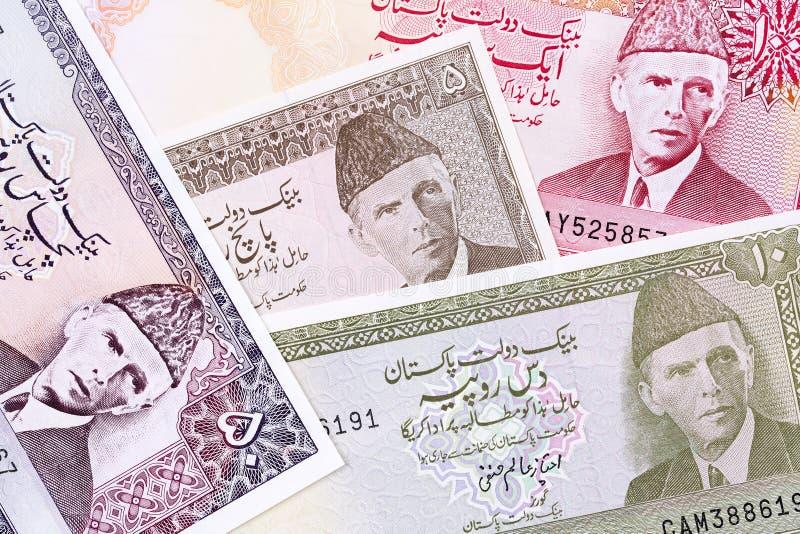 Gamla pakistanska pengar, en bakgrund arkivbilder