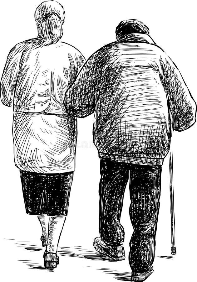 Gamla par på en gå vektor illustrationer