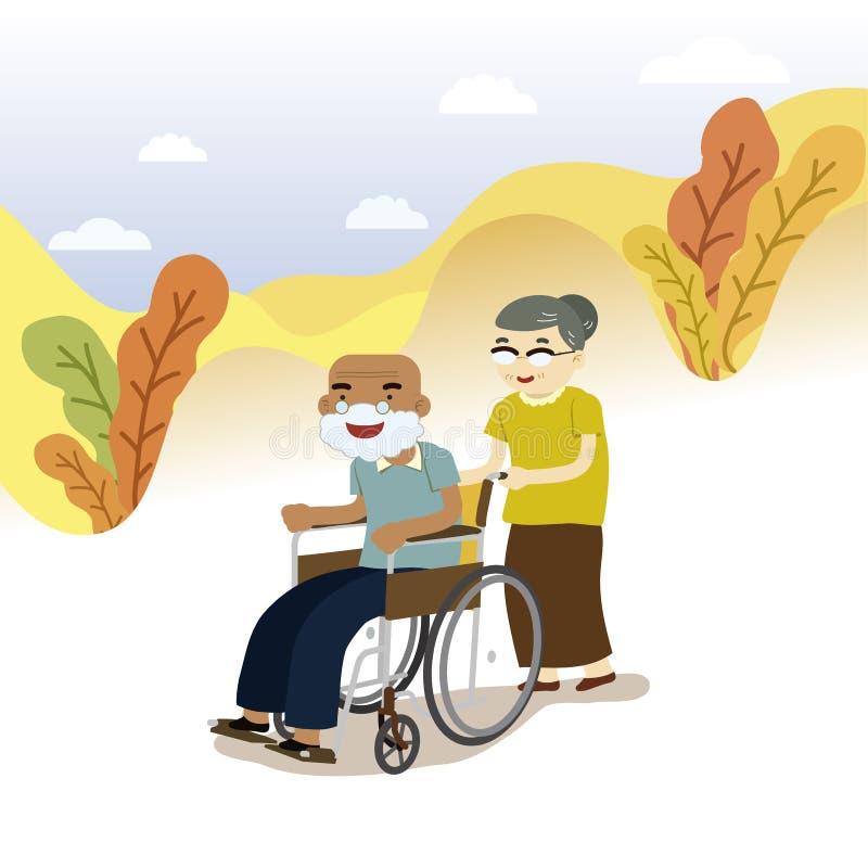 Gamla par på rullstolen royaltyfri illustrationer