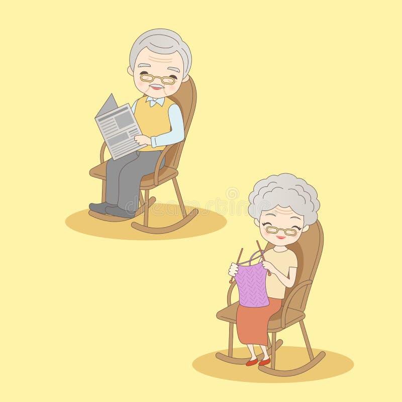 Gamla par sitter på stol vektor illustrationer