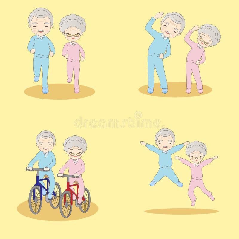 Gamla par som gör övning stock illustrationer