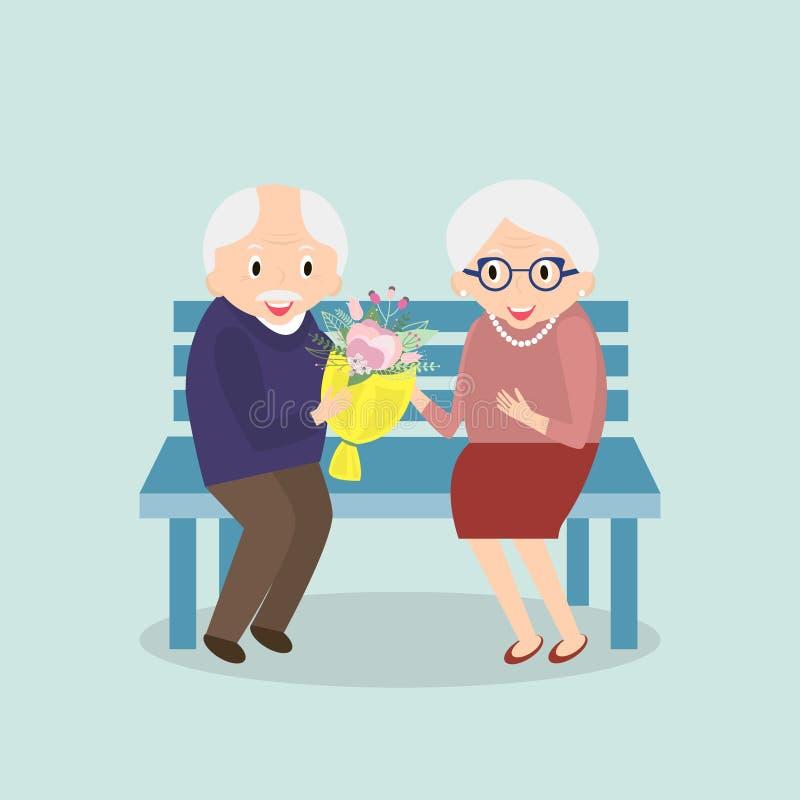 Gamla par tillsammans Lycklig fritid för pensionärer Morfar- och mormorsammanträde på bänken också vektor för coreldrawillustrati stock illustrationer