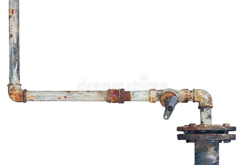 Gamla rostiga rör, åldrig riden ut isolerad rörledning för grungerostjärn och rörmokerianslutningsskarvar, industriella klappmont royaltyfri fotografi