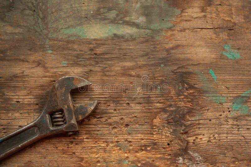 Gamla Rusty Adjustable Wrench arkivbild