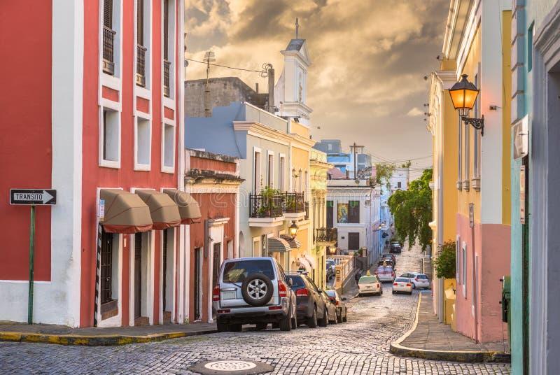 Gamla San Juan, Puerto Rico Streets royaltyfri bild