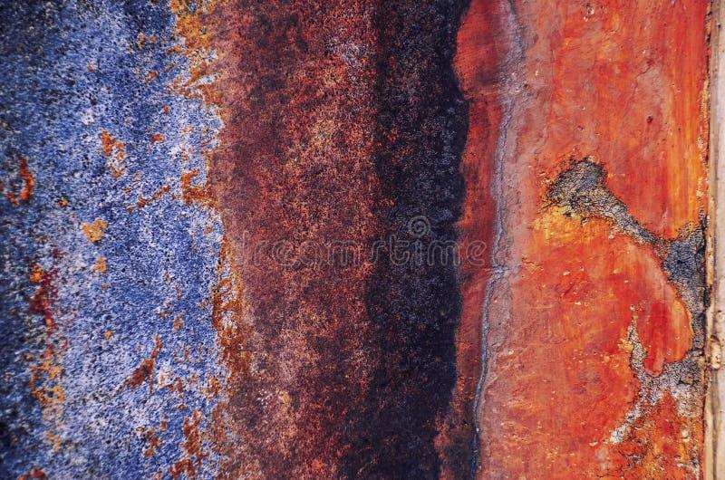 Gamla, skrapade forntida blått, metalltextur royaltyfria foton