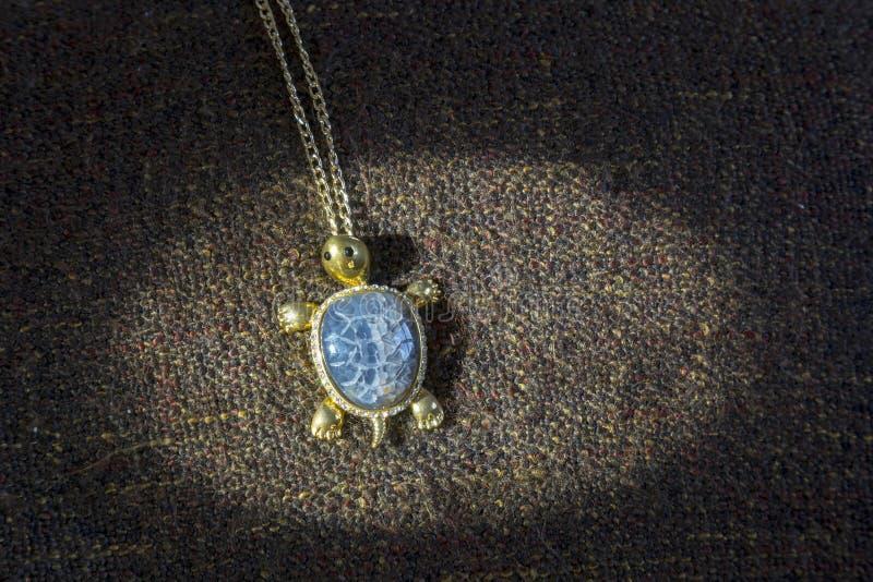 Gamla smycken i form av sköldpadda royaltyfria foton