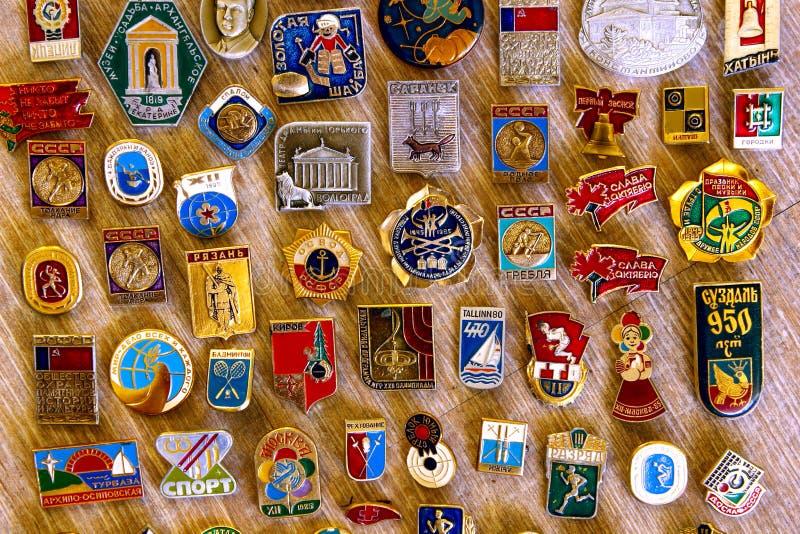 Gamla sovjetiska sällsynta järnemblem royaltyfria foton